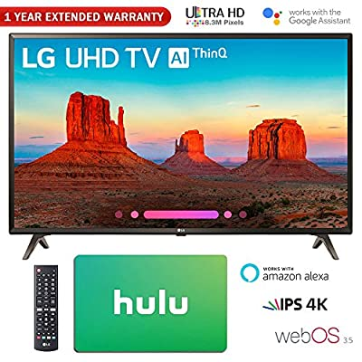 "LG 43"" Class 4K HDR Smart LED AI UHD TV w/ThinQ 2018 Model (43UK6300PUE) with Hulu $25 Gift Card & 1 Year Extended Warranty"