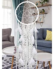 """Extra Large Dream Catcher Kids Wall Hanging Decoration Handmade White Feather Boho Big Dreamcatchers with Bells Wedding Dream Catchers Bedroom Craft Ornament Gift (Dia 12"""", Length 41"""")"""
