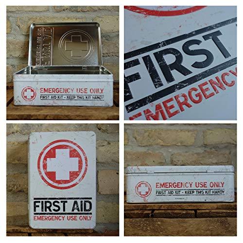 Nostalgic-Art Boîte en Fer Blanc Plate Style rétro pour kit de Premiers Secours Imprimé First Aid 23 x 16 x 7 cm 3