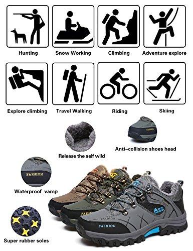 YITU Hombre Otoño Invierno Botas de Senderismo Impermeables de Ocio al Aire Libre Zapatos de Deporte Zapatillas de Senderismo Cordones Trainer Botas Verde ...