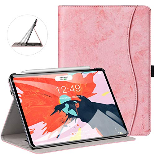 (Ztotop Case for iPad Pro 11 Inch 2018 Release, Premium Leather Slim Multiple Viewing Angles Folding Stand Folio Cover with Auto Wake/Sleep (Support 2nd Gen Apple Pencil Wireless Charging), Pink)