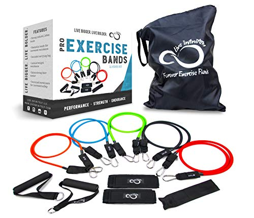 (Exercise Resistance Band Set With Handles- Professional Grade 11 Piece Stackable Exercise Resistance Bands With Door Anchor, 2 Ankle Straps & Zip Top Bag- Includes Online Workout Guides)
