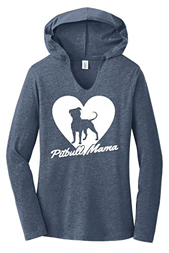Comical Shirt Ladies Hoodie Shirt Pitbull Mama Tee Pitt Bully Dog Lover Gift Tee Navy Frost M