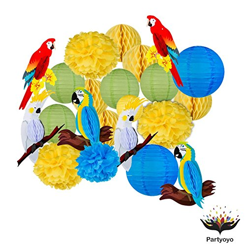 Bright and Colorful Paper Lanterns – Lantern Party Decorations for Festivals, Birthdays, Anniversaries – Flower, Ball, and Parrot Paper Lanterns – Set of 14 Sturdy Color Party Decorations by Partyoyo by PARTYOYO