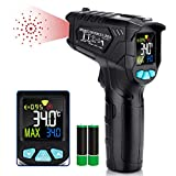 Infrared Thermometer, Non-Contact Digital Laser IR Thermometer Gun -58℉~716℉(-50℃~380℃) Adjustable Emissivity Instant-Read for Kitchen/Cooking/Automotive/Industrial with HD Backlight Color Display