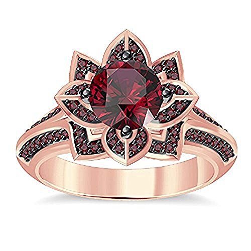 14K Gold Plated(White,Yellow,Rose,Black)Alloy Round Cut Created Red Garnet Beautiful Lotus Flower Ring Engagement & Wedding Fashion Ring For Women's Free Size 4 to 11