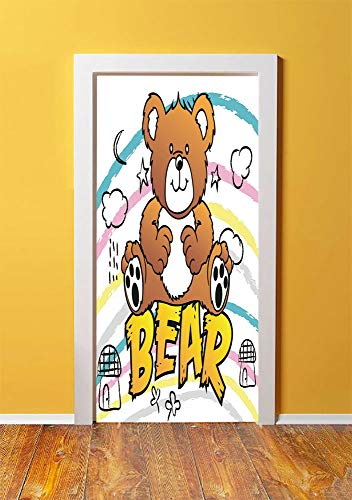 (Nursery 3D Door Sticker Wall Decals Mural Wallpaper,Cute Brown Bear Kids Toy Typography on Colorful Stripes Houses Clouds Moons Stars Decorative,DIY Art Home Decor Poster Decoration 30.3x78.6064,Multi)