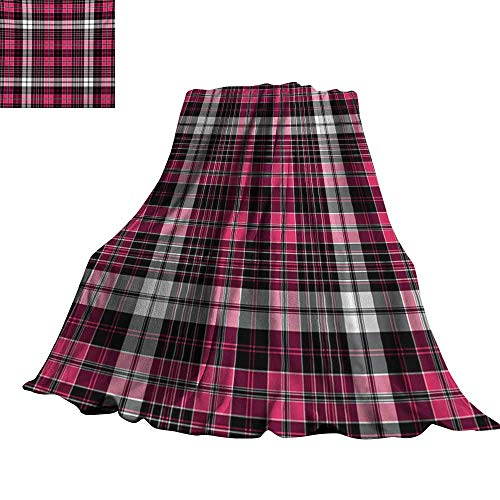 "RenteriaDecor Checkered,Baby Blanket Symmetrical Lines and Squares Geometric Old Tartan Inspired Design Print Plush Microfiber Blanket 70""x60"""
