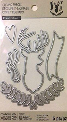 Momenta Cut & Emboss 5 pc set Deer Head, Banner, Branches, Flourish, Heart