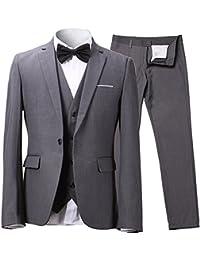 chamarra Slim Fit – Traje de un botón 3-Piece Blazer Dress Suit para hombre Tux pantalones y chaleco