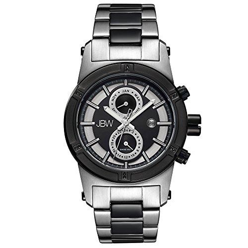 (JBW Luxury Men's Strider J6263G 0.12 Karat Diamond Wrist Watch with Stainless Steel Link Bracelet)