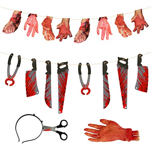 Halloween Scary Props, Homga Halloween Terror Severed Hand Leg Heart Props Set, Scary Bloody Weapon Garland Banner for Halloween Decoration]()