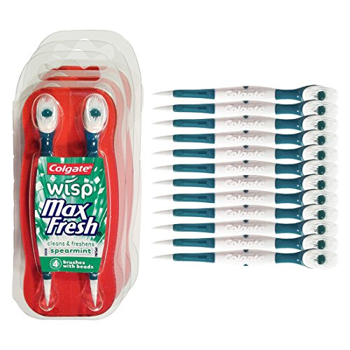 Colgate Wisp - Camping Toothbrush - Spearmint - No Water Needed - Wisp Toothbrush - Guaranteed Freshness. Mini Toothbrush Great for Traveling or Camping. Small Package, Compact, Contains 4 Disposable Toothbrushes. Clean Teeth, Fresh Breath - 3 Packs