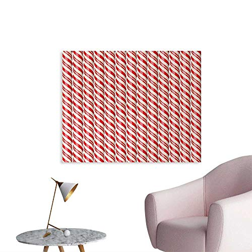 - homehot Candy Cane Poster Paper Red Christmas Candies Pattern with Diagonal Stripes Traditional Winter Sweets Photo Wall Paper Red Cream W48 xL32