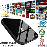 Android 8.1 TV Box,A95X Plus TV Set Top Box 4G/32G S905 Y2 Network Player Android 8.1 Gigabit Bluetooth with Remote Control Smart WiFi TV Box Tablet Media Player