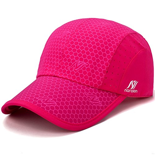 GADIEMENSS Sport Cap,Soft Brim Lightweight Waterproof Running Hat Breathable Baseball Cap Quick Dry Sport Caps Cooling Portable Sun Hats for Men and Woman Performance Workouts and Outdoor Activities Rose Red, 55-62cm