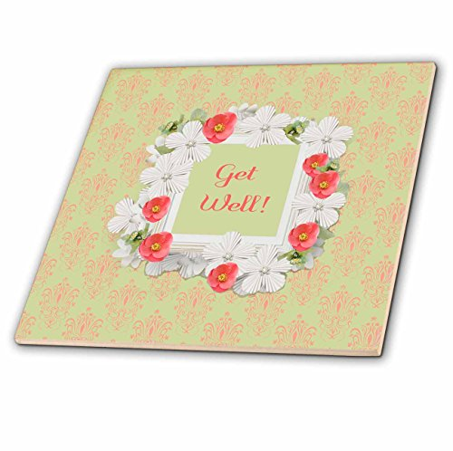 3dRose Beverly Turner Get Well Design - Get Well, Coral and White Flowered Frame, Damask Background - 8 Inch Glass Tile (ct_282168_7)