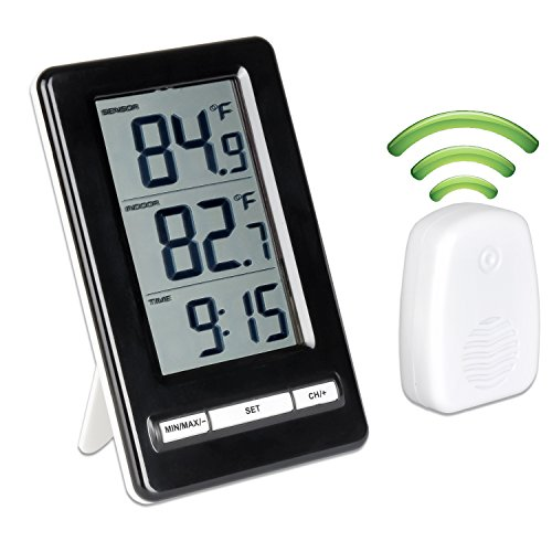 Qooltek Digital Wireless Thermometer Indoor Outdoor Temperature Monitor Station with Big Digital LCD Display MIN/MAX records and Clock for Home, Office, Baby (Basic Digital Thermometer)