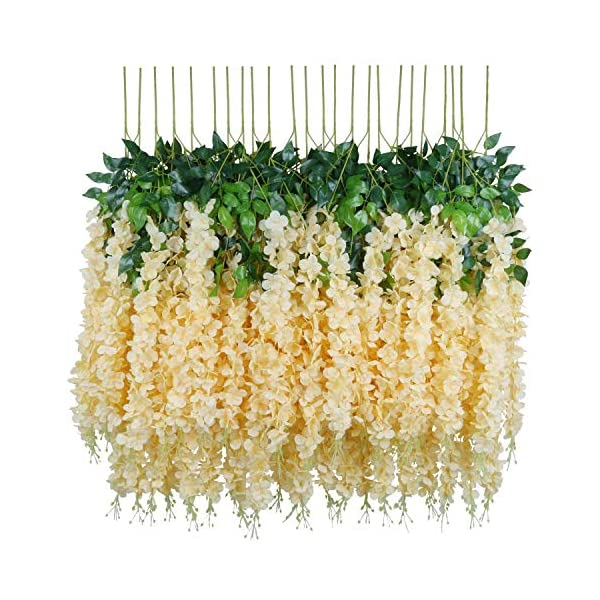 Pauwer 12 Pack Artificial Wisteria Garland Silk Flowers String Hanging Wisteria Vine Ratta Artificial Wedding Flowers Decorations (Champagne)