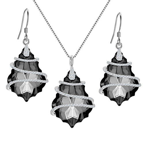 EVER FAITH 925 Sterling Silver CZ Baroque Jewelry Set Grey Black Adorned with Swarovski - Silver Sterling 3 Necklace Stone