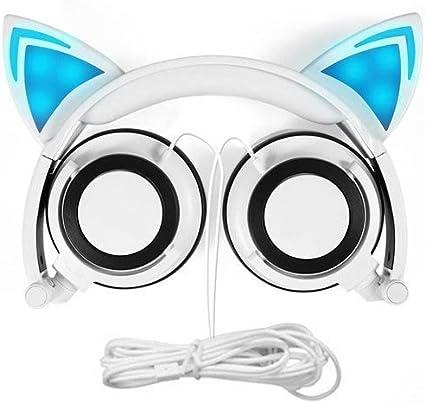Auriculares con cable de diadema de orejas de gato plegables con luz LED para niños. Compatible con reproductores MP3,MP4 y teléfonos iPhone 6S, Android blanco