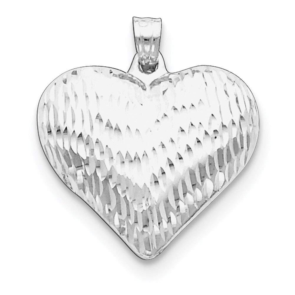 Lex /& Lu Sterling Silver w//Rhodium D//C Puffed Heart Pendant LAL105508-Prime
