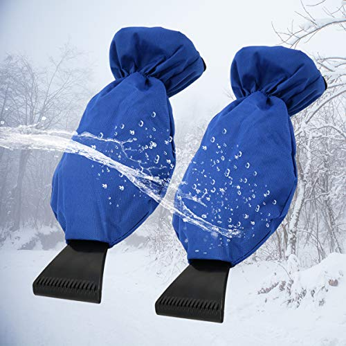 NEXTBOX Ice Scraper Gloves with Waterproof 600D Oxford, Warm Polar Fleece Gloves Snow Shovel Windshield/Window Hand Mitts for Car Scraping Snow-2 Pack