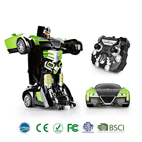 SainSmart Jr. Transformation Car Toy Bugatti Car Robot for Kids, RC Car One Button Transforms into Robot, Remote Control Transforming Robot (Green)