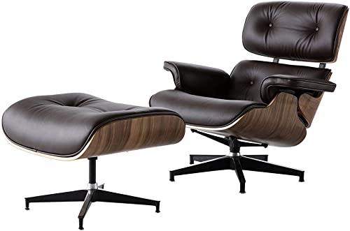 DERCASS Full Genuine Leather Mid Century Style Recliner Lounge Chair Ottoman Set