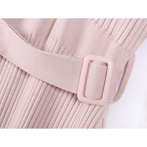 Elástico Para Casual Larga Cuello Vestido Botón En Marrón Con color Suéter Vestidos De V Punto Mujer Manga Auming Caqui xX7FZXw