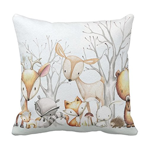 - UOOPOO Woodland Watercolor Animal Baby Kid Nursery Throw Pillow Case Square 18 x 18 Inches Soft Cotton Canvas Home Decorative Wedding Cushion Cover for Sofa and Bed One Side
