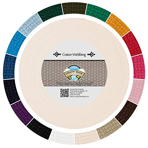 Country Brook Design - Heavy Cotton Webbing with 17 Vibrant Color Options (1 Inch) (10 Yards, Natural)