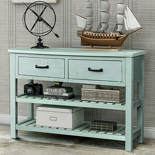 Blue Console - P PURLOVE Console Table Buffet Table Sofa Table with Drawers and 2 Tiers Wood Shelf (Retro Blue)