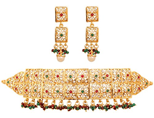 Touchstone Mughal Jali collection white/red/green grand bridal jewelry choker necklace in gold tone for women