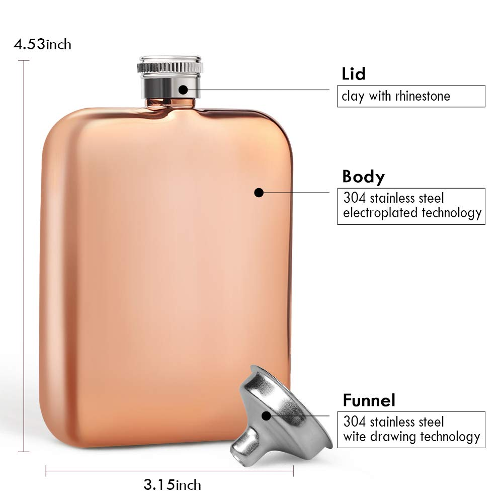 177 ml Silver Kwanithink Fiaschetta da uomo in acciaio inox con imbuto per whisky