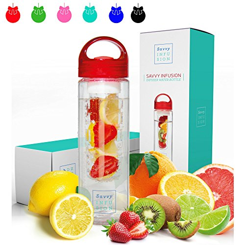 Savvy Infusion Water Bottle - 24 Oz - Create Your Own Naturally Flavored Fruit Infused Water, Juice, Iced Tea, Lemonade and Sparkling Beverages - Choice of Dazzling Colors