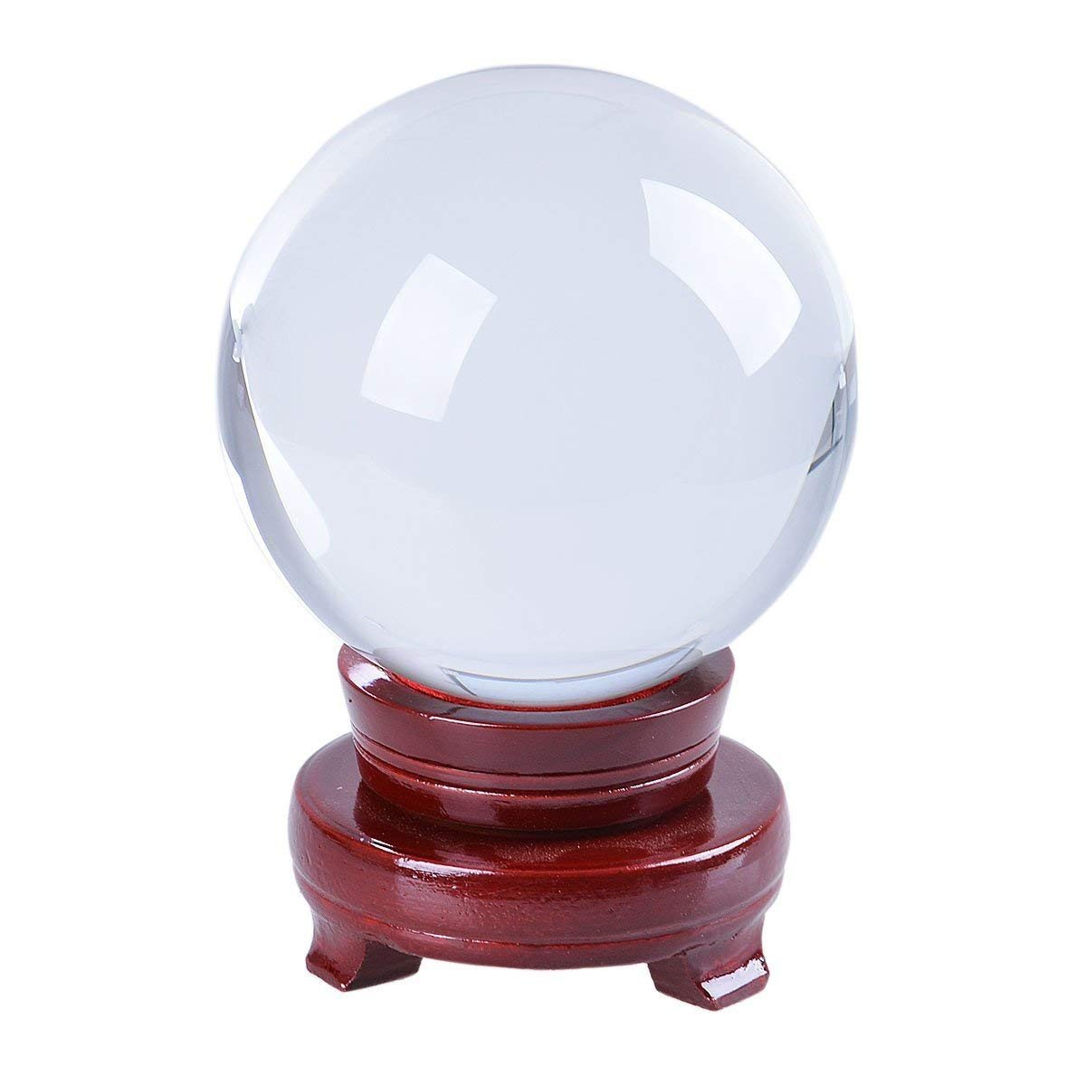 LONGWIN 120mm (4.7 inch) Large Crystal Divination Ball Photography Props Free Wooden Stand