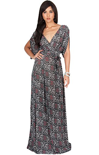 KOH KOH Petite Womens Long V-Neck Short Sleeve Casual Summer Boho Bohemian Print Flowy A-Line Sundress Formal Evening Maternity Gown Gowns Maxi Dress Dresses, Black S 4-6