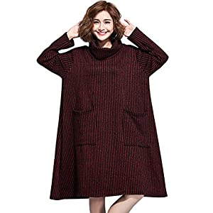 LAI MENG FIVE CATS Women's High Neck Cotton Knitted Casual Oversized Tunic Sweatshirt Dress ONE Size(US S-XL)