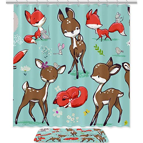 meihekoushi Set with Cute Fox Mouse and Deer Shower Curtain and Mat Set, Waterproof Polyester Fabric Curtains 69X70 Inch, Sets Include Matching Rug and 12 Hooks