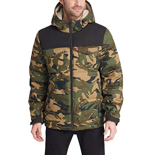 Levi's Men's Heavyweight Mid-Length Hooded Military Puffer Jacket, Camouflage/Black, Medium