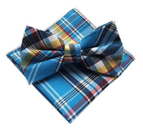 Elfeves Men's Sky Blue Silk Multicolored Jacquard Ascot Bow Ties Set - Shirt Cotton Dress Lines Italian