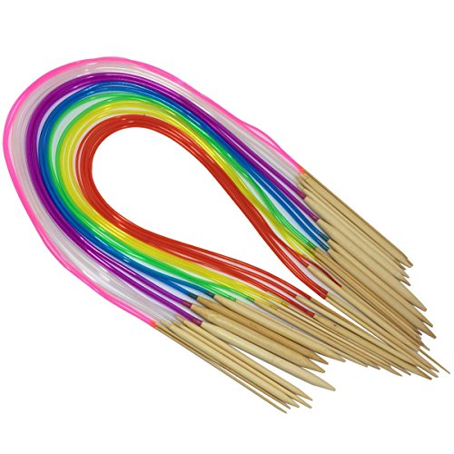 Round Needle (Misscrafts Circular Knitting Needles Set 18 Sizes Bamboo Knitting Needles Coloured Plastic Tubing)
