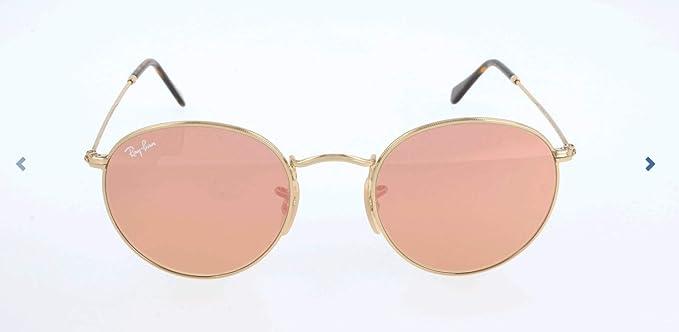 RAY-BAN Round Metal Gafas de sol, Shiny Gold, 50 para Hombre ...