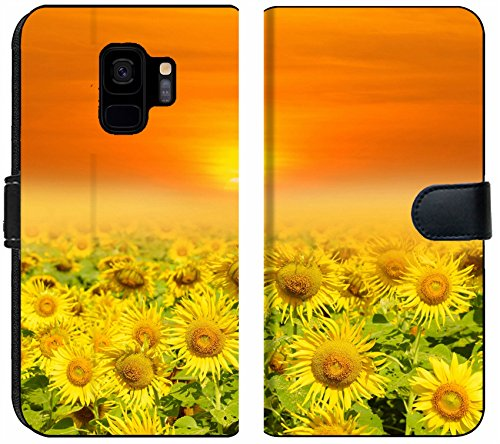 Liili Premium Samsung Galaxy S9 Flip Micro Fabric Wallet Case Field of Blooming Sunflowers on a Background Sunset Image ID 39640793