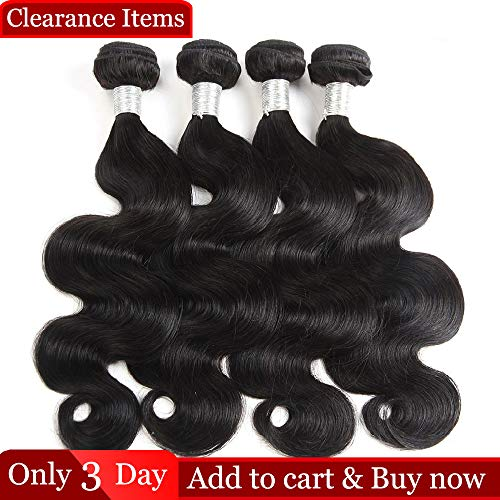 Dingfeng Hair Brazilian Body Wave 4 Bundles Big Sale 7A Wholesale Price Of Factory Human Hair Extensions 100% Unprocessed Brazilian Virgin Hair (Natural Color,14141414)