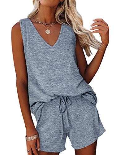 MYMORE Women's 2 Piece Outfits V Neck Sleeveless Knit Tank Tops Drawstring Waist Beach Shorts Romper Lounge Pajamas Sets
