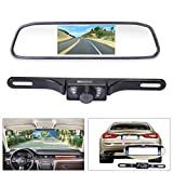 "Noiposi Backup Camera and Monitor kit Universal Waterproof Night Vision Linsence Plate Rear view Camera and 4.3"" Car Vehicle Rear Mirror Monitor for DVD VCD Car Reverse Camera"