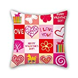 NICEPLW 20 x 20 inches / 50 by 50 cm love pillow covers ,twice sides ornament and gift to drawing room,monther,wedding,kids room,bar seat