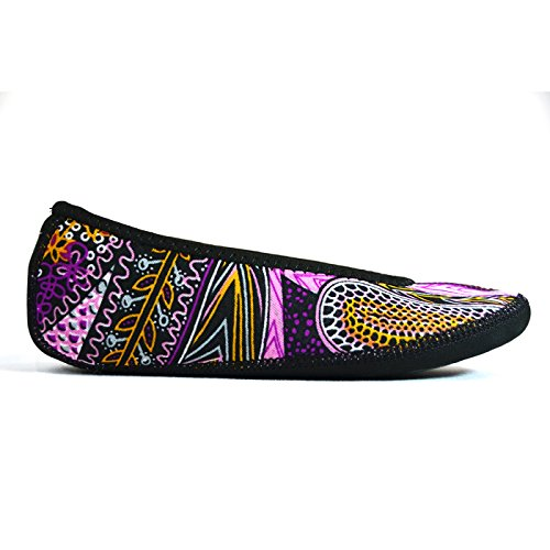 NuFoot Fuzzies Ballet Flats Women's Shoes, Best Foldable & Flexible Flats, Slipper Socks, Travel Slippers & Exercise Shoes, Dance Shoes, Yoga Socks, House Shoes, Indoor Slippers, Paisley, Large by Nufoot (Image #1)